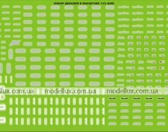 Набор декалей шильды и эмблемы для AUDI, 190х80