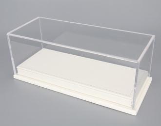 Прозрачный бокс подставка из белой кожи (173*70*68mm)