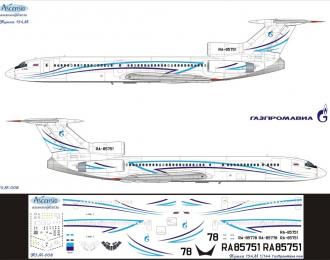 Декаль на самолет тушка-154М (ГазПромАва New)