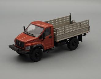 ГАЗон C41A23 бортовой, красно-коричневый / серый