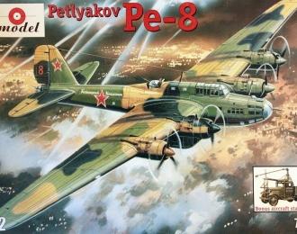 Сборная модель Советский бомбардировщик Пе-8+ авиастартер АС-2