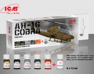 Набор акриловых красок для Cobra AH-1G (5 красок + матовый лак, по 12 мл)