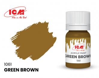 Краска для творчества, 12 мл, цвет Зелено-коричневый(Green Brown)