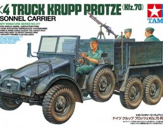 Сборная модель Немецкий грузовик Krupp Protze 6х4 с тремя фигурами, пулеметом MG-34, с противотанковым ружьем Pz.B.39 и ассортиметом инструментов