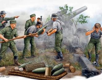 Сборная модель Солдаты немецкие артиллеристы, расчёт гаубицы