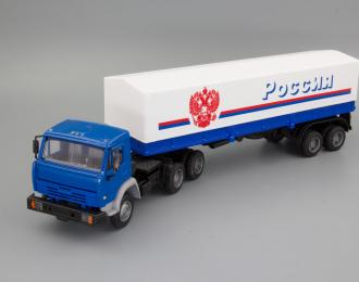 """Камский грузовик 54115 (высокая дневная кабина) с полуприцепом и тентом """"Россия"""", синий / белый"""
