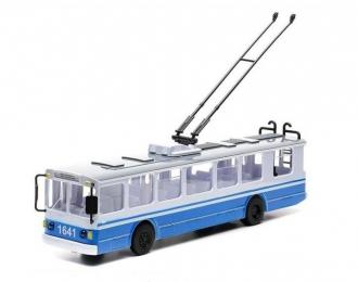 Троллейбус, голубой / белый