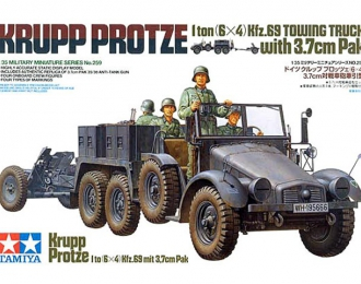 Сборная модель Krupp Protze 1ton (6[4) Kfz.69 Towing Truck with 3,7cm Pak New