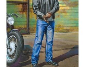 Сборная модель Street Rider фигура мотоциклистастоит рядом с мотоциклом)