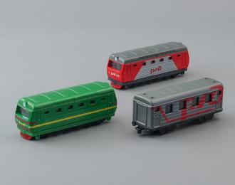 Набор моделей 2 локомотива + вагон