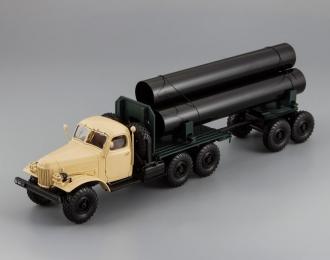 157К/ТВ-5 тягач с роспуском для перевозки труб большого диаметра, бежевая кабина