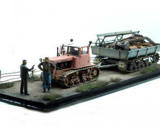 ДТ-75 с прицепом МТП с грузом (композиция 15)