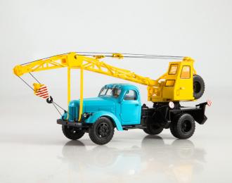 ЛАЗ-690 (164) автокран, голубой / желтый