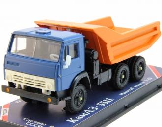 КАМАЗ 5511 самосвал продольные ребра, синий / оранжевый