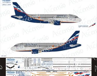 Декаль на самолет Arbus A319 (Арофлот Российские Авалинии)