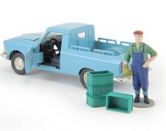 Набор пластиковых ящиков 4 шт. (13x9x6мм), зеленый