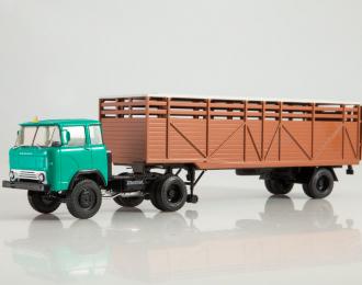 КАЗ-608 с полуприцепом ОДАЗ-857Б, зеленый / коричневый