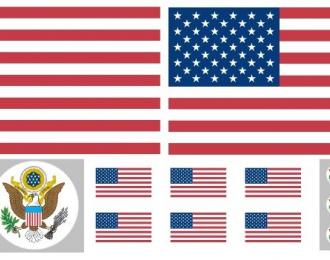 Декаль с американской символикой для американских грузовиков (обратная), 90 х 200 мм