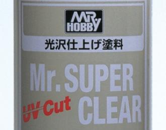 Mr.SUPER CLEAR UV CUT GLOSS Прозрачный глянцевый аэрозольный лак, 170мл