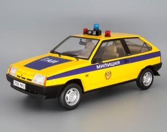 Волжский автомобиль 2108 Samara ГАИ (1985), yellow / blue with brown interior