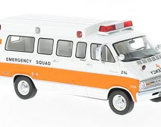 """DODGE Horton Ambulance """"Emergency Squad"""" 1973 White/Orange"""