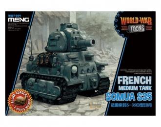Сборная модель Французский средний танк Somua S35 (сборка без клея, для детей, карикатура)