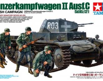 Сборная модель Немецкий танк PzKw II  Ausf C, польская кампания с тремя фигурами. Наборные траки, доп.броневые листы, фототравление
