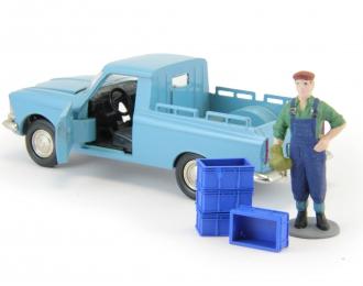 Набор пластиковых ящиков 4 шт. (13x9x6мм), синий