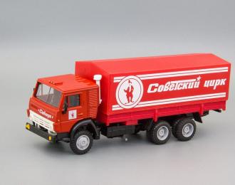 Камский грузовик 53212 тент Советский цирк (клоун), красный