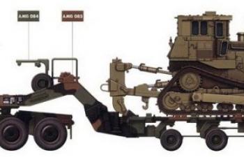Сборная модель U.S. M1070&M1000 w/D9R 70 Ton Tank Transporter w/Bulldozer