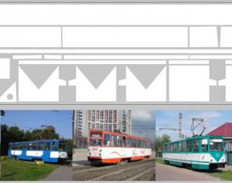 Набор декалей полосы для Трамвая КТМ-5М3 белый (100х360)