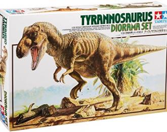 """Диорамма """"Тиранозаурус плюс три динозавра, один человек, деревья"""