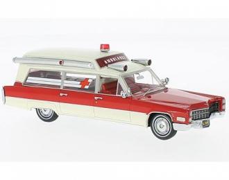 CADILLAC S&S Ambulance (скорая медицинская помощь) 1966 Red/White