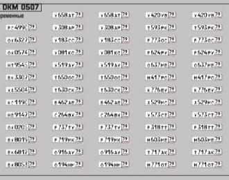 Набор декалей Номерные знаки России Еврейская автономная область (100х70)