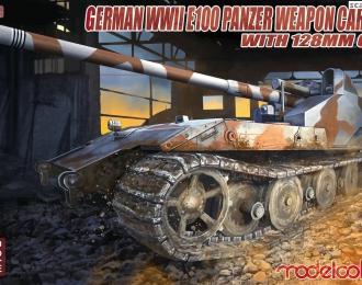 Сборная модель Немецкое 128мм противотанковое орудие на базе тяжелого танка E-100 (Waffentrager E-100)