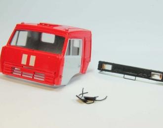 Спальная кабина для КАМАЗ пожарный вариант (Евро-2, плоский бампер), красный/белый