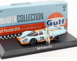 """PORSCHE 917K #20 """"Gulf Oil"""" с фигуркой Steve McQueen 1970"""