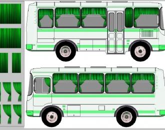 Набор декалей Шторки для Павловский автобус, зеленый (100х140)