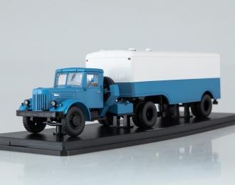 МАЗ-200В с полуприцепом МАЗ-5217, голубой / белый