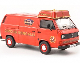 VOLKSWAGEN T3a, Circus Roncalli Box Wagon With Umbrellas Roof, red