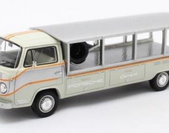 """VOLKSWAGEN T2 Pick-up Racetransporter """"PORSCHE"""" 1976 White/Grey"""