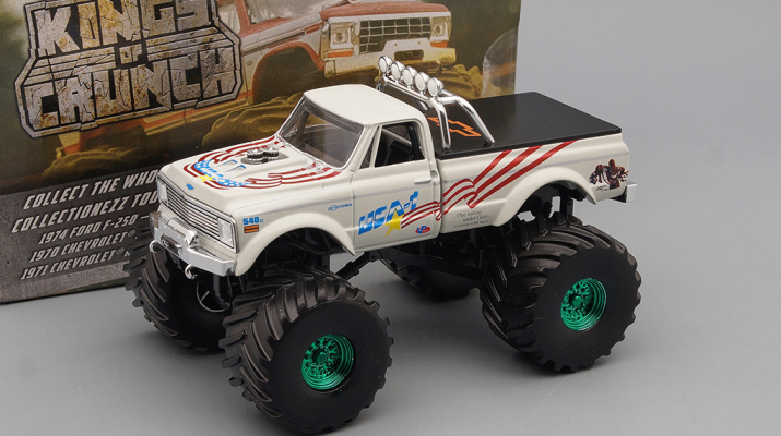 "CHEVROLET K-10 Monster Truck Bigfoot ""USA-1"" 1970 (колеса 66 дюймов) (Greenlight!)"