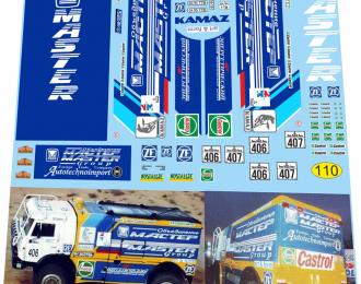 Набор декалей Камский грузовик 49250 no.406, no.407 Дакар 1994