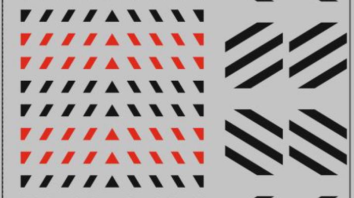 Набор декалей Габариты на прозрачной подложке, черный / красный (100х140) (100х140)