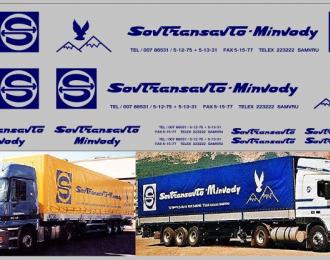 Набор декалей SovTransAvto-Minvody для МАЗ-5205 (100х290), синий