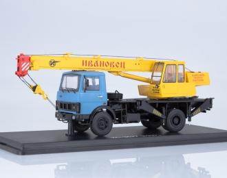 """Автокран КС-3577 (5337) """"Ивановец"""", голубой / желтый"""