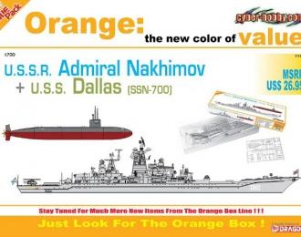 """Сборная модель Советский крейсер """"Адмирал Нахимов""""+ Подводная лодка Dallas SSN-700"""