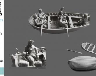 Сборная модель Лодка с экипажем . XVIII век