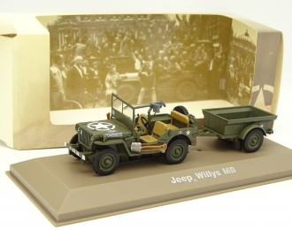 (Уценка!) JEEP Willys MB + Remorque Bantam (1940), green