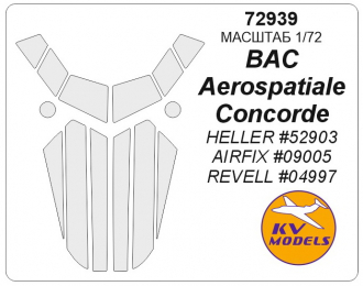 Окрасочная маска для BAC/Aerospatiale Concorde (HELLER #52903 / AIRFIX #09005 / REVELL #04997)